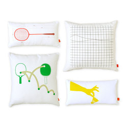 Gus Modern - Gus Modern Raquet Sports Pillows - Set of Four - When you're trying to sleep, the last thing you need is a racket, right? These pillows turn that notion around. These sports-themed decorative pillows pay tribute to leisure racket sports, but won't create any excessive noise.