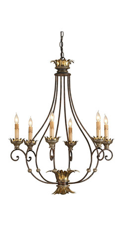 Kathy Kuo Home - Kevesa Curved Open Frame Gold Leaf Iron 6 Light Chandelier - From top to bottom, this Italianate open framed curved chandelier celebrates the contrast of spare wrought iron and luxuriously gold leafed details.  Traditional spaces where sophisticated light fixtures are appreciated will find this a seamless addition.
