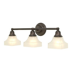 Design Classics Lighting - Three-Light Bathroom Light - 673-30/G9415 KIT - Arts and crafts / craftsman bronze 3-light bathroom light. Traditional styling and a deep bronze finish create a fine addition to your vanity. Takes (3) 100-watt incandescent A19 bulb(s). Bulb(s) sold separately. Dry location rated.