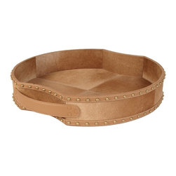 Lazy Susan - Lazy Susan 173027 Fallow Faux Pony Tray - This faux pony tray is a little country and a little rock 'n' roll. Handmade from warm brown cowhide, it's surrounded with decorative studs. The superstar accessory makes a brilliant centerpiece.