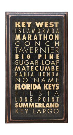 """CrestField - Keys of Florida Decorative Vintage Style Wall Plaque / Sign - This vintage style wall plaque is hand made to commemorate the beautiful keys of Florida. The pine board has a quarter round routed edge and is sized at 7.25"""" x 13"""" x .75"""". The surface is finished with my """"flatter than satin"""" poly finish with a saw tooth hanger on the back. Would look great in any decoration project, home or office."""