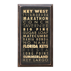 "CrestField - Keys of Florida Decorative Vintage Style Wall Plaque / Sign - This vintage style wall plaque is hand made to commemorate the beautiful keys of Florida. The pine board has a quarter round routed edge and is sized at 7.25"" x 13"" x .75"". The surface is finished with my ""flatter than satin"" poly finish with a saw tooth hanger on the back. Would look great in any decoration project, home or office."
