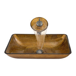 Vigo Industries - Russet Glass Vessel Sink with Faucet in Brushed Nickel - Rectangular copper glass vessel sink and waterfall faucet set will bring a modern elegance to your bathroom. Handmade with possible unique and slight color variations, so no two sinks are identical. Vessel bowl features striking gold and copper colors combined with a modern angular design.