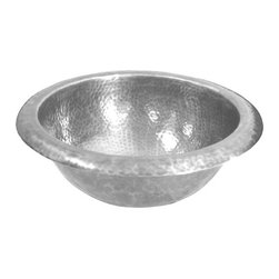 Houzer - Hammerwerks Baby Round Lavatory Sink Self Rim - Petite Round Sink/ Self Rimming. Lustrous Pewter finish. 9.5 in. inner dimension with a 4-5/8 in. depth. 1.5 in. drain. Antique Copper Overflow assembly . Bowl Interior: 9.5 in. Dia x 4.625 in. deep.. Hand Hammered Pewter. Self Rimming. 11.75 in. W x 11.75 in. H x 4.625 in. D