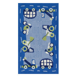 "Loloi Rugs - Loloi Rugs Zoey Collection - Blue / Green, 3'-0"" x 5'-0"" - Zoey is a delightful collection of lighthearted, cheerful patterns in pinks, blues and greens that are perfect for young kids or the young at heart. Power loomed in China of super soft polyester microfiber, Zoey rugs are durable, yet soft enough for infants and toddlers to cozy up to.�"