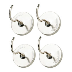 HIC Magnetic Hooks Set of 4 Stainless Steel Hook Kitchen - This set of 4 magnetic hooks is great for holding light items  kitchen towels  and more!  Chrome Plated Steel Construction.Product Features                        Chrome Plated Steel            Set of 4            Functional Design
