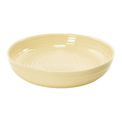 Portmeirion - Sophie Conran Biscuit Round Roasting Dish - 422278 - Shop for Baking & Roasting Dishes from Hayneedle.com! Pot roast is a go-to dish for carnivores everywhere and the Sophie Conran Biscuit Round Roasting Dish is the perfect pan to make it in. Crafted of durable porcelain this versatile pan is designed to go from oven to table. It's dishwasher-safe and can also be used in the freezer or microwave.About PortmeirionStrikingly beautiful eminently practical refreshingly affordable. These are the enduring values bequeathed to Portmeirion by its legendary co-founder and designer Susan Williams-Ellis. Her father architect Sir Clough Williams-Ellis was the designer of Portmeirion the North Wales village whose fanciful architecture has drawn tourists and artists from around the world (including the creators of the classic 1960s TV show The Prisoner). Inspired by her fine arts training and creation of ceramic gifts for the village's gift shop Susan Williams-Ellis (along with her husband Euan Cooper-Willis) founded Portmeirion Pottery in 1960. After 50+ years of innovation the Portmeirion Group is not only an icon of British design but also a testament to the extraordinarily creative life of Susan Williams-Ellis.The style of Portmeirion dinnerware and serveware is marked by a passion for both pottery manufacturing and trend-setting design. Beautiful tactile nature-inspired patterns are a defining quality of Portmeirion housewares from its world-renowned botanical designs modeled on antiquarian books to the breezy natural colors of its porcelain and earthenware. Today the Portmeirion Group's design legacy continues to evolve through iconic brands such as Spode the Pomona Classics collection and the award-winning collaboration of Sophie Conran for Portmeirion. Sophie Conran for Portmeirion:Successful collaborations have provided design inspiration throughout Sophie Conran's life. Her father designer Sir Terence Conran and mother food writer Caroline Conran have been the pillars of her eclectic mix of cooking writing and interior design. In pairing with the iconic British housewares brand Portmeirion Conran has created another successful collaboration: Sophie Conran for Portmeirion an award-winning collection of dinnerware serveware and drinkware for the practical multi-functional needs of contemporary kitchens.Launched in 2006 Sophie Conran for Portmeirion immediately received the Elle Deco Style Award for Best in Kitchens and two years later the House Beautiful Award for Best in Tableware. The soulful tactile beauty of these oven-to-tableware pieces is exemplified by rippled surfaces and edges that evoke a potter's hand. This down-to-earth style is complemented by charming pastels gentle earth tones and classic whites and pinks for a collection that will lighten and enliven contemporary kitchen decors. Though delicate to the eye and touch these plates and bowls are built for durable performance with microwave- and dishwasher-safe porcelain that's casual enough for breakfast and elegant enough for eye-catching dinners.