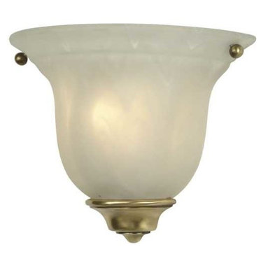 Dolan Designs Lighting - Small Wall Sconce with Antique Brass Finish - 225-18 - Distinct old brass accents and a frosted bell enclosure make this sconce a welcome addition to nearly any room. Wisps of bright white marble through the glass, which emits a warm illumination when lit. Takes (1) 60-watt incandescent flame bulb(s). Bulb(s) sold separately. UL listed. Dry location rated.