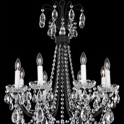Schonbek - Lucia Ferro Black Eight-Light Clear Heritage Handcut Crystal Chandelier, 21.5W x - -Heritage Handcut Crystal: This crystal is cut by hand in two stages on an iron and then a sandstone wheel. Each crystal is then polished on a wood wheel with marble dust. The most authentic handcrafted crystal in the world.  - A design that is open, airy, confident and fun. Features crystal drops in a contemporary cut with swags that fall freely from the crown. From Southwestern adobe homes to chic Manhattan apartments, Lucia's flexible styling makes it a match for any decor.  -Clear Heritage Handcut  - Wire Length (in inches): 132  - Light Source: Incandescent Bulb  - Bulbs not included  - Chain Length (in inches): 40  - Uses standard line volt dimmer  - Some assembly required  - For shipping outside of USA, please contact Bellacor customer service  - Cleaning and Care Instructions: Every Schonbek product is of heirloom quality and will last for generations. To ensure it retains its brilliance and splendor for years to come, proper care and regular cleaning are necessary. It is recommended that Schonbek products, and particularly their crystal trim, be lightly dusted with a feather or lambswool duster, or soft brush every two months, or whenever it appears dull or dusty. Consult the fixtures trim diagram for detailed cleaning instructions list of approved cleaning solutions. Schonbeck fixtures should never be subjected to any chemical cleaning agents. - See packaging insert for warranty information. Schonbek  - LU0002N-59H