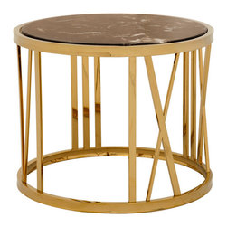 Eichholtz Oroa - Side Table Baccarat, Stainless Steel With Gold and Marble - Stainless steel with gold finish and marble top