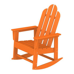 "Polywood POLYWOOD® Long Island Rocker in Tangerine - The sun, the beach and a really good book Bring the easy comfort of a day at the beach to your outdoor living area with the stylish and eco-friendly Long Island Rocker inspired by the classic Northeast Adirondack with a twist of modern design. You don't need a house in the Hamptons to create your own breezy get away with these classically styled pieces constructed from HDPE material – an incredibly durable material made from post-consumer bottle waste, such as milk and detergent bottles. Solidly constructed with stainless steel hardware, these pieces will stand the test of time and can withstand the elements with very little maintenance.  The Long Island Rocker will not absorb moisture and requires no waterproofing, painting or staining to maintain their bright color for years. The colors are blended into the material all the way through, and are UV-resistant. Minimal assembly is required.  Available colors: Sunset Red, Tangerine, Lemon, Lime, Aruba, Pacific Blue, Teak, White, and Black.  Dimensions: Long Island Rocker – 41""H x 26.5""W x 30""D, Seat height – 16.25"", Seat size – 20"" x 17""   Care: Wash with mild soap and water. They can be power washed at pressures below 1,500 PSI.Please allow 2-3 weeks to ship."