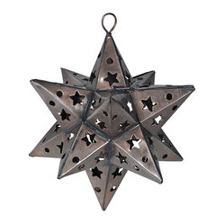 Mexican Artisans - Aged Punched Tin Star Ornaments-pair of 2 - Our punched aged tin star ornaments make a rustic and festive addition to your holiday or special occasion decor. These star ornaments each have a section that opens for placement of a light or candle. All of our natural punched tin Christmas ornaments are handcrafted by Mexican artisans. For a unique and stylish look combine all of our Mexican star ornaments.  They also make much appreciated hostess gifts!