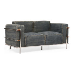 "Zuo Modern - Lasso Loveseat by BSEID - Simply framed in chrome with wide denim cushions, the Lasso Loveseat will definitely be the seat of choice when seeking comfort. Each seam is double stitched in tan, just like your favorite blue jeans. Combine this with some trendy accents for a warm and welcoming space. (ZM) 58.6"" Wide x 32"" Deep x 28.3"" High seat height 15"""