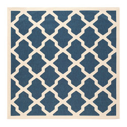 Safavieh - Courtyard Navy and Beige Square: 7 Ft. 10 In. x 7 Ft. 10 In. Rug - - Safavieh takes classic beauty outside of the home with the launch of their Courtyard Collection. Made in Turkey with enhanced polypropylene for extra durability these rugs are suitable for anywhere inside or outside of the house. To achieve more intricate and elaborate details in the designs Safavieh used a specially-developed sisal weave  - Pile Height: 0.25  - Construction: Machine Made  - Easy to Clean?Just sweep vacuum or rinse off with a garden hose. Safavieh - CY6903-268-8SQ