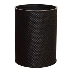 Lamont Home - Basketweave Round Wastebasket Chocolate - Made from high quality PVC/Polyester fabric, these traditional styles have been updated in a wide range of patterns to match any decor. A vinyl lid with metal grommet completes the look for the hamper. A very durable product that adds style to any laundry room.