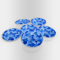 """Custom Photo Factory - Blue Flowers  Glass Coasters With Crystal Clarity. 6 Piece Set. - Made in the USA. Materials: Smooth tempered glass. Set includes:  (6) drink coasters. Dimensions:  3.94"""" x 3.94"""" x 3/16"""".  Image imprinted on the backside so the item on top of the coaster is never interacting with the print surface. The crystal clarity of our glass coasters delivers reliably uniform color reproductions. Crafters, artists and interior designers will find countless ways to use the features of these glass coasters. This will be the highest quality coasters you've even seen."""