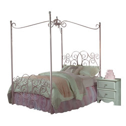 Standard Furniture - Standard Furniture Princess 5-Piece Kids' Canopy Bedroom Set in Pink Metal - Every little girl will be a princess with our frilly metal canopy princess bed as the focal point of her bedroom.