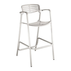 Modway - Modway EEI-853 Toledo Bar Stool in Silver - The unique appearance of the Ohio Style Indoor/Outdoor Accent Bar Stool spurs the imaginative faculties into full gear. Containing a vision of the future already in the present; the time continuum is virtually one extension. Embody intangible wisps of thoughts into an inexhaustible fountain of creative momentum. Perfect for pub area use.