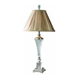 Unbranded - Crystal Lamp: 34.5 in. Crystal Fluted Table Lamp 26693 - Shop for Lighting & Fans at The Home Depot. This crystal fluted lamp puts a modern flair on a classic design. It is features silver plated metal accents. The round bell shade is angle pleated, silken taupe textile.