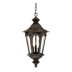Acclaim - Acclaim Lighting Marietta Black Coral 3-light Hanging Outdoor Lantern Light Fixt - The Marietta 3-light hanging lantern is crafted of durable cast aluminum with a rust and corrosion-resistant black coral finish. Accentuated with a clear seeded glass globe,this elegant lantern offers a traditional design to complement any outdoor decor.