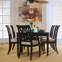 "American Drew - American Drew Camden Splat Back Dining Arm Chairs - Black - Set of 2 - ADL2184 - Shop for Dining Chairs from Hayneedle.com! This set of 2 dining arm chairs have a double X design back a padded seat and tapered legs. With arms at the perfect height for relaxing the American Drew Camden Splat Back Dining Arm Chair offers a sumptuous seating option. Tapered sculpted legs and a double X design on the seat back enhance the elegance of this casual chair. A rustic black finish creates warmth and adds charm. Pair up with the matching table for a full set see Related Skus for collection pieces. About American DrewFounded in 1927 American Drew is a well-established manufacturer of medium- to upper-medium-priced bedroom dining room and occasional furniture. American Drew's product collections cover a broad variety of style categories including traditional transitional and contemporary. Their collections range from the legendary 18th-century traditional ""Cherry Grove "" celebrating its 42nd year of success to the extremely popular ""Bob Mackie Home Collection "" influenced by the world-renowned fashion designer Bob Mackie. ""Jessica McClintock Home"" features another beloved designer bringing unique style to an American Drew line. American Drew's headquarters are located in Greensboro N.C. Their products are distributed through thousands of independently owned retailers throughout the United States Canada and around the world."
