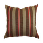 """The Pillow Collection - Querell Stripes Pillow Brown/Red 18"""" x 18"""" - Let the luscious color of this stripes throw pillow captivate you. This decor pillow is a perfect accent piece in your love nest. The striking vertical stripes print pattern in brown/red hue creates depth and definition in your space. The beautiful pillow features rich colors in brown and red. The square pillow is made from soft 100% cotton fabric. Hidden zipper closure for easy cover removal.  Knife edge finish on all four sides.  Reversible pillow with the same fabric on the back side.  Spot cleaning suggested."""