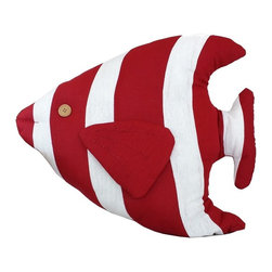 Handcrafted Nautical Decor - Red Tropical Fish Pillow 18'' - This charming Red Tropical Fish Pillow 18'' combines the     atmosphere of the sea along with the body of a fish to round out our  beach throw pillow. This beach pillow is the perfect accent to spruce up  your beach home. Place this fish pillow in   your home to show   guests  your affinity for sealife  decor.--Dimensions: 18'Long x 5'Wide x 15'High----    Handcrafted by our master artisans--    Wonderful nautical throw pillow - in the shape of a fish--         --    Red and white stripes are the perfect nautical colors to accent beach theme throw pillow--