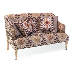 Baklava Loveseat - Add a welcoming and unique focal point to your room with the Baklava Loveseat. The boldly patterned fabric works seamlessly with slim oak feet and trim brass wheels. Play up contrasting textures and welcome guests to coffeeonce they take a seat among those plush cushions, they'll instantly fall in love.