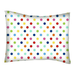 SheetWorld - Twin Pillow Case - Percale Pillow Case - Primary Colorful Polka Dots Woven - Twin pillow case. Made of an all cotton woven fabric. Side Opening. Features primary colorful polka dots on a white background.