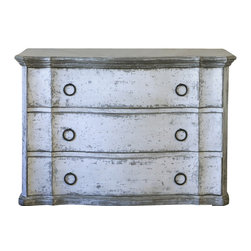 Eloquence Inc - Petit Bordeaux Commode in Stone - Isn't this cute! Eloquence Petit Bordeaux commode in Stone finish. The perfect nightstand or dresser for your Country French, all white decor, or European-influenced bedroom. Enjoy the beautiful shape along with an abundance of storage space.