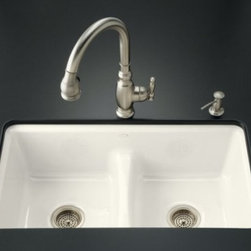 KOHLER - KOHLER K-5838-7U-KA Deerfield Smart Divide Undercounter Double Bowl Kitchen Sink - KOHLER K-5838-7U-KA Deerfield Smart Divide Undercounter Double Bowl Kitchen Sink with Seven Hole Faucet Drilling in Black 'n TanBridging the gap between form and function, and proving that sometimes less is, indeed, more, Smart Divide(R) kitchen sinks feature an innovative, low-profile divider. Because the top of the divider is situated deeper inside the basin area, KOHLER(R) Smart Divide kitchen sinks are better to accommodate larger pots, and also make it easier to keep water where it belongs - in the sink.Please see our Delivery Notes for Freight Shipments for products that are oversized and/or are too heavy to ship UPS ground. KOHLER K-5838-7U-KA Deerfield Smart Divide Undercounter Double Bowl Kitchen Sink with Seven Hole Faucet Drilling in Black 'n Tan, Features:• The Smart Divide low profile basin divider (patent pending) offers ease of handling large items within the sink