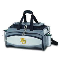 "Picnic Time - Baylor University Vulcan Cooler And Propane Barbecue Set - The Vulcan is a Picnic Time original design and the ultimate tailgating cooler and propane barbecue set in one! Don't be fooled by other similar looking items on the market. Only Picnic Time's Vulcan features a PVC cooler that conveniently nests inside the compartment that houses the portable propane BBQ. The tote can carry the BBQ and a fully-loaded cooler at the same time! This patented, innovative design features a large insulated and fully-removable, water-resistant cooler that measures 16 x 8 x 7"" and holds up to 24 12-oz soda cans. Unzip the cooler from the main tote to access the portable propane barbecue grill that's included. The cooler has two carry straps on either side, and features a mesh pocket on the interior lid that fits a large ice pack/gel pack. The Vulcan also features an adjustable shoulder strap with comfort pad, a reinforced waterproof base, three large zippered exterior pockets to store personal effects, 2 drawstring pockets to hold propane tanks (not included), padded carry handles, and a stretch cargo cord on the top of the tote to carry a blanket or towel. Included in the tote are: 1 portable LP (propane) BBQ grill with lid (16.7 x 10.8 x 5.1""), one black drawstring bag to hold the grill, and three stainless steel tools with aluminum handles and non-slip thumb grips: 1 large spatula featuring a built-in bottle opener, grill scraper, and serrated edge for cutting, 1 pair of tongs, and 1 BBQ fork. Don't be caught without the Vulcan at your next tailgating party!; College Name: Baylor University; Mascot: Bears; Decoration: Embroidered; Includes: 1 fully-detachable cooler with handles, 1 portable LP (propane) BBQ grill with lid (16.7 x 10.8 x 5.1""), one black drawstring bag to hold the grill, and three stainless steel tools with aluminum handles and non-slip thumb grips: 1 large spatula featuring a built-in bottle opener, grill scraper, and serrated edge for cutting, 1 pair of tongs, and 1 BBQ fork"
