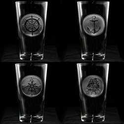 Crystal Imagery, Inc. - Nautical Glassware Set, Sailboat, Anchor, Beach House Glasses - Engraved nautical theme glassware gift for beach lovers, beach or coastal home or for your favorite sailor, captain of a boat, or fisherman. Deeply carved using our sand carving technique, each of our custom drinking glasses is meticulously custom made to order making it the perfect gift for those seeking unique gift ideas for beach lovers, vacation home owners - men and women alike. If you own a beach house and love coastal home decor, order several sets of this popular drink ware and you will be ready to relax at the beach in style!  At 16 oz, our pub glass will hold plenty of your favorite beverage. Dishwasher safe. Made in the USA. SOLD AS A SET OF 4.