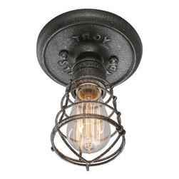 Troy Lighting - Troy Lighting C3810 Conduit 1 Light Wrought Iron Flush Mount Ceiling Fixture - Features: