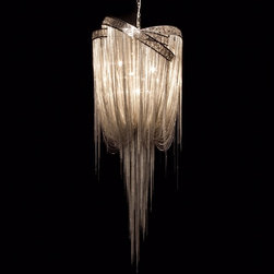 Hudson Furniture Mother Chandelier - This stunning chandelier by Baylar Atelier is composed of gloss nickel plated laser cut rings and chains. It's a stunningly dramatic and luxe piece.