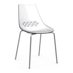 Calligaris - JAM Chair, Chrome Frame, White Seat/ Transparent Back - What's white in front, colorful on back and chic all over? This groovy, two-tone chair. Featuring a shapely seat, sleek steel base and cool cutout design, it's the modern masterpiece your dining table's been waiting for.