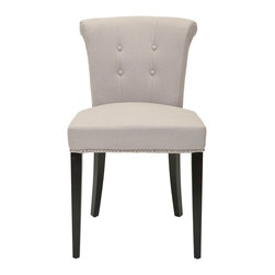 Safavieh - Safavieh Arion Ring Chair X-2TES-F4154RCM - The bent back of the Arion dining chair, in beige linen fabric, gets a classic dressed-up punch thanks to exposed nail heads and cleaver metal ring on its back. Button tufts on the front of the tapered backrest and generous cushions make it a handsome sea