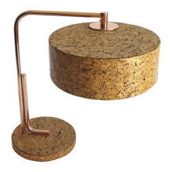 Kurt Versen Cork and Copper American Art Deco Table Lamp - Believe it or not, but this table lamp is a rare vintage piece from 1935. Even though the base and shade are covered in cork (rather than being constructed of cork), I love the connection between the aesthetic of this piece and today's direction in design.