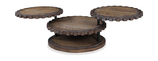 Bassett Mirror - Bassett Mirror Sprockets Cocktail Table - Rich wood tones and a gear-shaped design give the Sprockets Cocktail Table its industrial feel. Featuring three circular weathered oak tabletops and a rounded base, this table is ideal for entertaining. The different height levels add texture and intrigue to the piece.