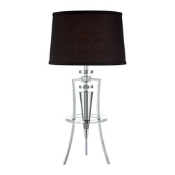 Lite Source - Lite Source Tricof III Contemporary Table Lamp XSL-KLB/C79022 - From the tricoff iii collection, this lite source contemporary table lamp features an elegant black fabric drum shade that contrasts the unique look of the tripod base. The base has been finished in a chrome hue that accentuates the gentle curves while a clear crystal accents completes the look.