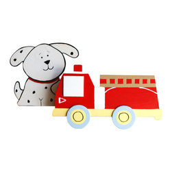 "Little Elephant Company - Fire truck and Dalmation Quilt Clips set of 2 - Beautiful quilt clips that transform your treasured baby quilts and comforters into charming hanging artwork for your child's room.    Very easy to use.  ***  This listing is for a set of two (2) quilt clips. The firetruck is red with white, pale yellow, pale blue, country twill, and black. The sweet Dalmation dog is white with red and black.     These quilt clips are perfect for fire truck and transportation themed bedding sets.     Measurements are:  - fire truck 5.25 in. x 3 in.  - dog 4 in. x 3.5 in.     How many quilt clips do I need?  - For a quilt that is still stiff and new, you will only need 2 quilt clips for up to 36 inches wide. Many people will do 3 quilt clips just for the look, though. For a quilt that has been washed and is pliable, 2 clips will be sufficient for up to 36 inches, but you may want 3 clips to help keep the center from sagging. For a quilt 36 to 42 inches wide, use 3 to 4 clips. For a quilt 42 to 50 inches, use 4 to 5 clips.     How do the quilt clips work?  - The only hardware is needed is a long nail, approximately 1 1/2"" to 2 1/2"" in length.  - Measure how far apart you would like the clips to be.  - Decide how high on the wall they will be placed and mark your first spot. Using a level, measure out and mark the second spot.  - Place your nails into the wall at a 45 degree angle. IMPORTANT: If your nail is not at a 45 degree angle, the clip may slip off the nail.  - Clip the quilt and slide the back of the clip over the nail.    What are the clips made of?  - Designs are made of layered wood. A few of our designs also have layered felt.   - Clips on the back are a sturdy plastic so as not to damage your fabric."