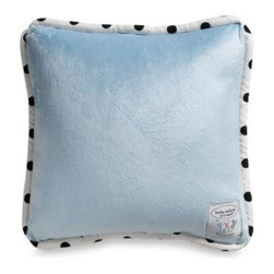 Kathy Ireland - Kathy Ireland Home Opposites Blue 12-Inch Square Toss Pillow by Thank You Baby - Simple in pattern and bold in design, this fashionable toss pillow features a crisp white and black stripe pattern on one side, a soft blue minky fabric on the reverse and white piping adorned with black dots.