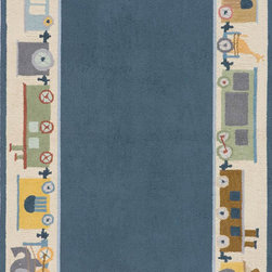 Momeni - Momeni Lil Mo Classic LMI-3 (Blue) 4' x 6' Rug - What happens when you blend a bit of nostalgia with a bit of today? You get a collection unlike any other...'Lil Mo Classic. Trains, whimsical bugs and a damask with a twist make this collection a must have. Hand-hooked of pure cotton, 'Lil Mo Classic features a cut-loop construction which gives the motifs a high/low effect and added texture. Just too cute!