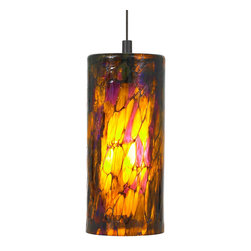 LBL Lighting - Abbey Large Fluorescent Pendant - The Abbey Large Pendant has an outer glass cylinder in a stained-glass style, plus an opal inner glass cylinder that provides soft light distribution. Available in Amber-Purple, Amber-Red, and Blue-Amber-Red glass varieties, with either a Bronze or Satin Nickel finish. One 26 watt 120 volt GX24Q-3 base triple tube fluorescent bulb is included, or one 75 watt 120 volt E26 medium base A19 incandescent bulb is included. 6.5 inch width x 14.6 inch height. Six feet of field-cuttable cable is included. Canopy is included.