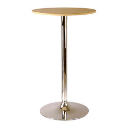 Winsome Wood - Winsome Wood Kallie 23.5 Inch Round Pub Table w/ Veneer Wood Top & Metal Base - 23.5 Inch Round Pub Table w/ Veneer Wood Top & Metal Base belongs to Kallie Collection by Winsome Wood Sleek, chic and over-the-top contemporary describe this table top ��_��_��_��_��_natural wood��_��_��_��_��_ veneer of MDF and metal pub table. The bar-counter height is perfect for standing at and having a conversation or match with our Air-Lift Stools for a cozy chat or small dinner. Lots of possibilities with this versatile table and it��_��_��_��_��_��_s small enough to fit most anywhere. Pub Table (1)