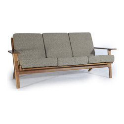 Kardiel Hans J Wegner Style Plank Sofa, Oatmeal Twill/Dark Wood - The year of design was 1953. Hans Wegner created the GE 290 Plank Series with a wind swept lineal frame. Similar to the wing chair, the frame of the plank series is pitched backward in angle in such a way that one can imagine the series being produced in a wind tunnel. The look denotes the forward thinking, forward direction Series GE 290 design. In previous designs, Hans had created single pieces. The notable element of the Plank series was the 1, 2 and 3 seat configuration as options. Hans is no doubt the father of Danish Modern Furniture design. This series shows his desire to incorporate wood as is present in much of the Danish designs with wool upholstery for its practical comfort. This series graduated to design icon status throughout Europe, the U.K and Australia by the mid 1970's. Its popularity in the U.S is now on the rise, however on a positive note, it is not a design that is known to the masses. Ownership of this series still has the advantage of exclusivity to it as it denotes a deeper understanding of the Mid-Century Designs and their designers.