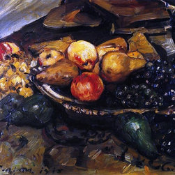 """Lovis Corinth Still Life with Fruit and Wine Glass - 18"""" x 24"""" Premium Archival - 18"""" x 24"""" Lovis Corinth Still Life with Fruit and Wine Glass premium archival print reproduced to meet museum quality standards. Our museum quality archival prints are produced using high-precision print technology for a more accurate reproduction printed on high quality, heavyweight matte presentation paper with fade-resistant, archival inks. Our progressive business model allows us to offer works of art to you at the best wholesale pricing, significantly less than art gallery prices, affordable to all. This line of artwork is produced with extra white border space (if you choose to have it framed, for your framer to work with to frame properly or utilize a larger mat and/or frame).  We present a comprehensive collection of exceptional art reproductions byLovis Corinth."""