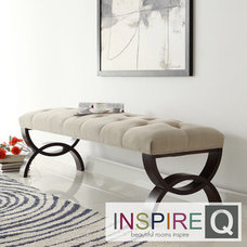 Bedroom Benches INSPIRE Q Wellington Velvet Beige Arched Base Bench