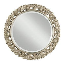 Murray Feiss - Murray Feiss MR1144ASLF Leaves Round Antique Silver Leaf Mirror - Murray Feiss MR1144ASLF Leaves Round Antique Silver Leaf Mirror
