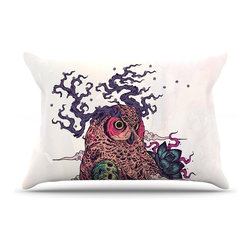 """Kess InHouse - Mat Miller """"Regrowth"""" Natural Owl Pillow Case, King (36"""" x 20"""") - This pillowcase, is just as bunny soft as the Kess InHouse duvet. It's made of microfiber velvety fleece. This machine washable fleece pillow case is the perfect accent to any duvet. Be your Bed's Curator."""